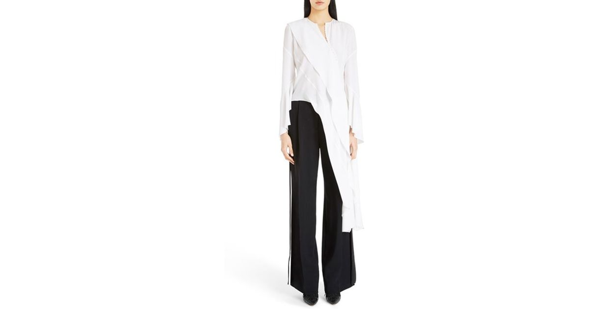 ec78c1a2364 Givenchy Asymmetrical Silk Blouse in White - Lyst