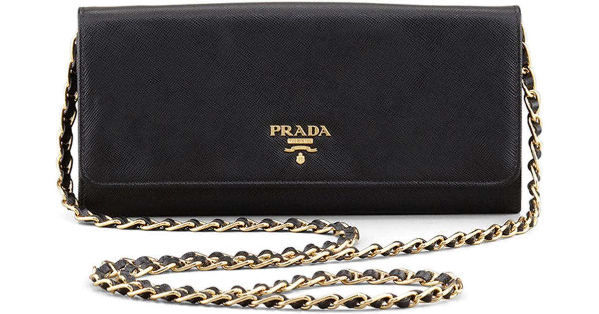 800fb2c42d9dae ... buy lyst prada saffiano leather wallet on chain in black e2f0f fd97e