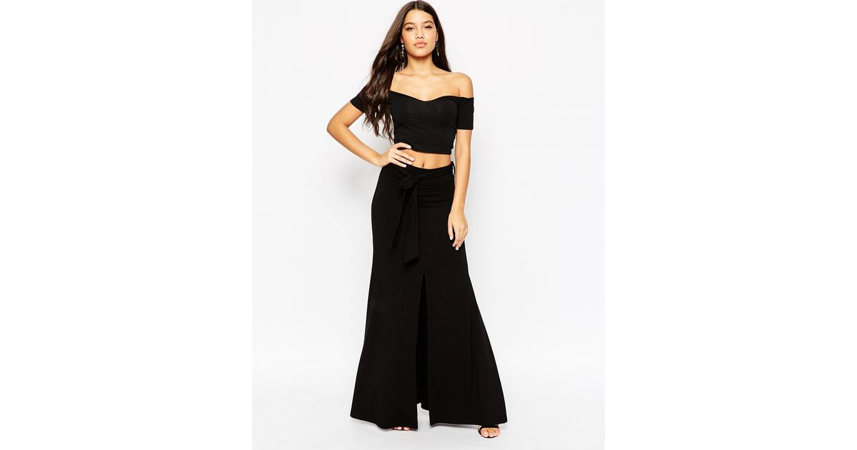 asos maxi skirt with tie knot waist and splices in black