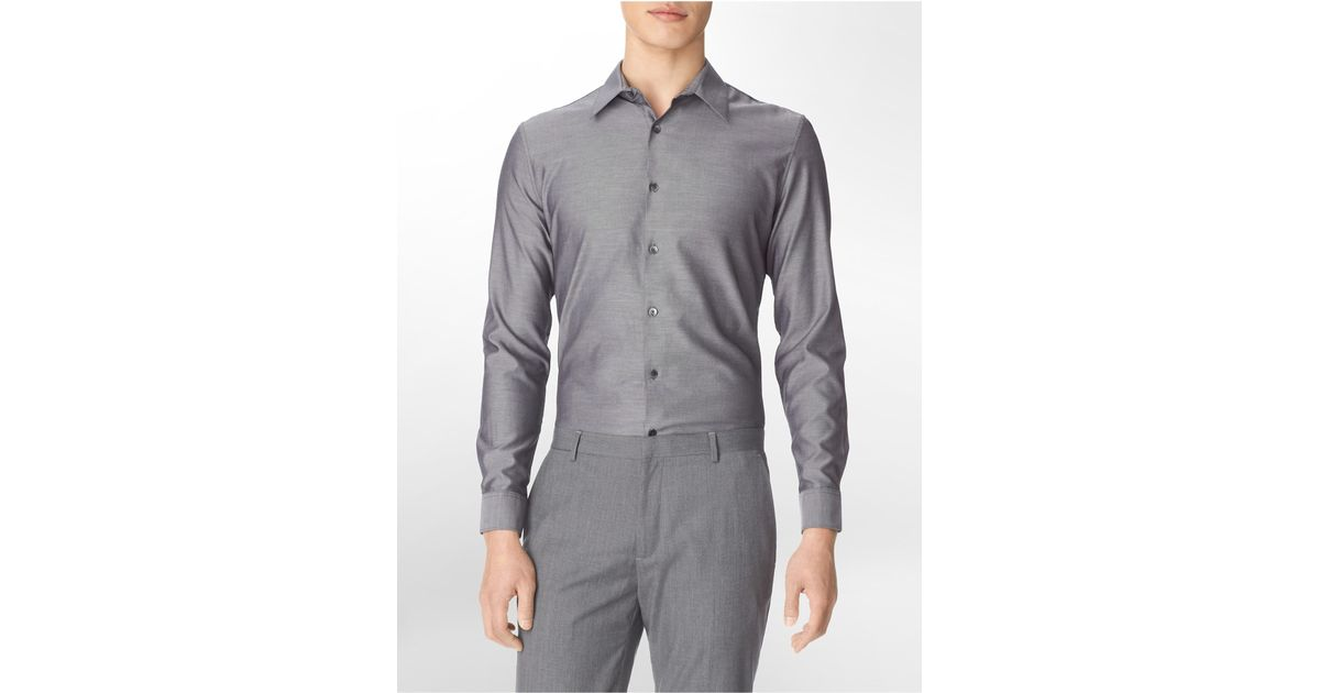 Calvin klein white label slim fit chambray button front for Calvin klein athletic fit dress shirt