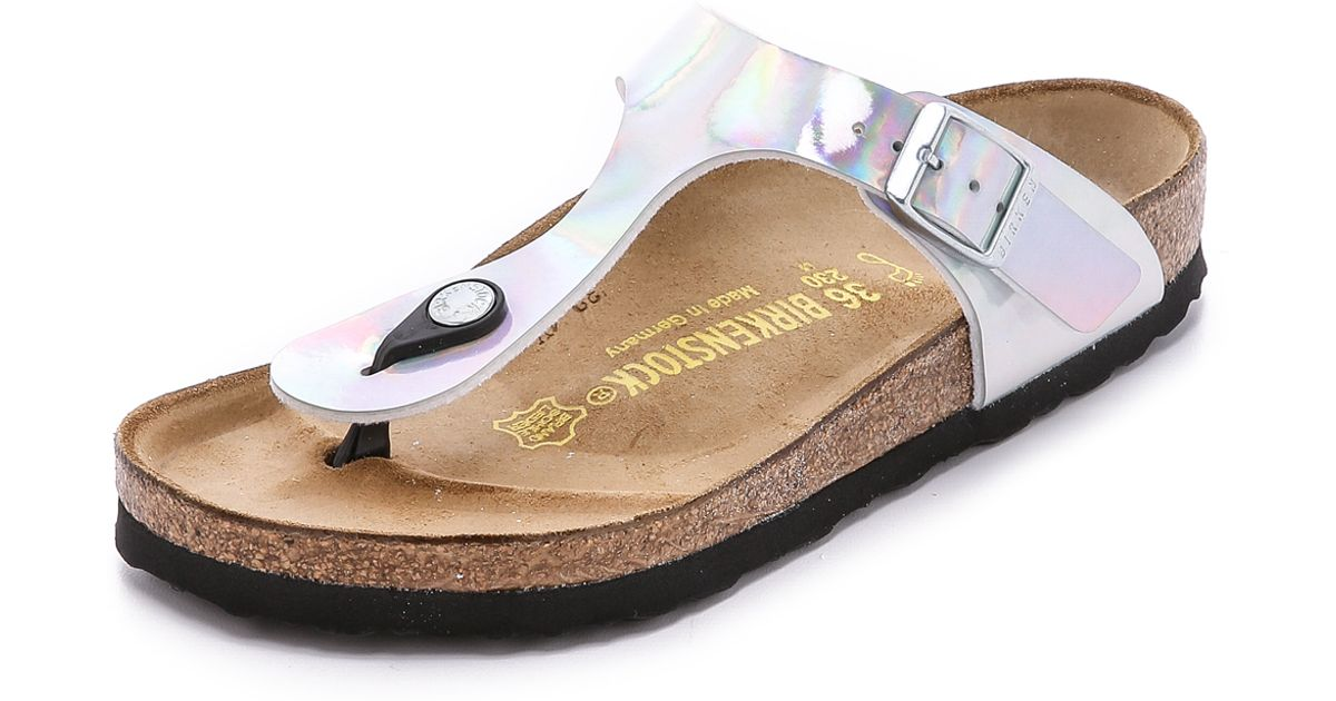 Gizeh Mirror Birkenstock Sandals Metallic Thong Silver iXPZuk