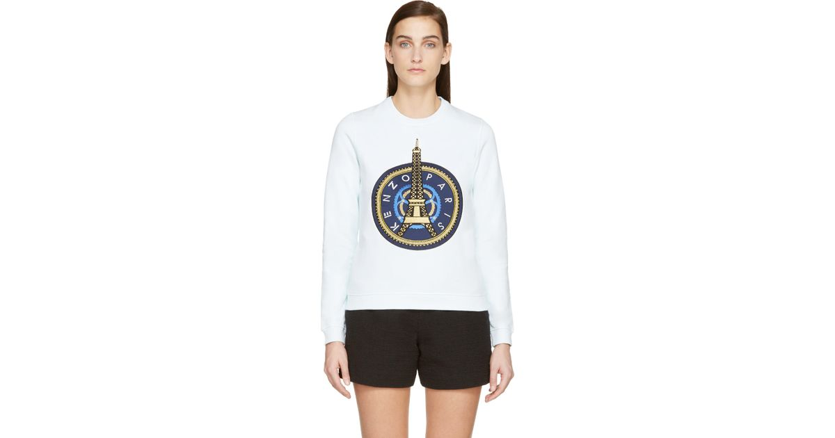 ed733102d KENZO Mint Green And Gold Eiffel Tower Sweatshirt in White - Lyst