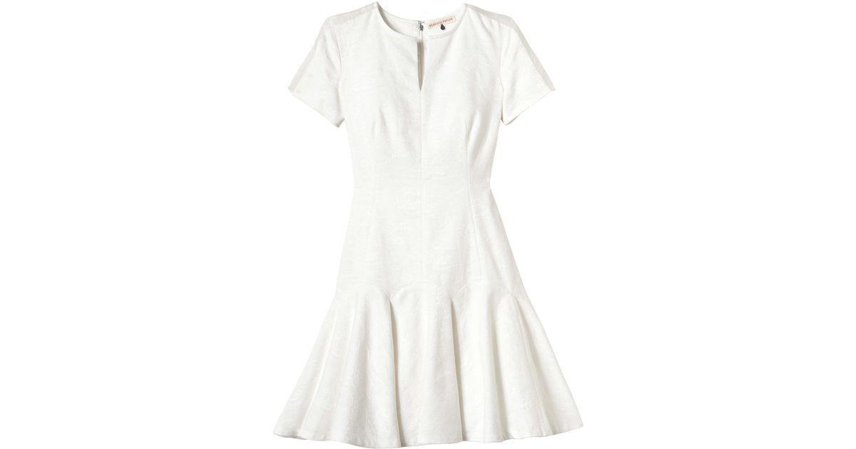 52f000cb6b Lyst - Rebecca Taylor Textured Flip Dress in White