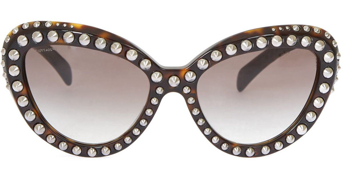 109a1fd49ff ... new style prada brown stud cat eye sunglasses in brown lyst c42a4 045dd