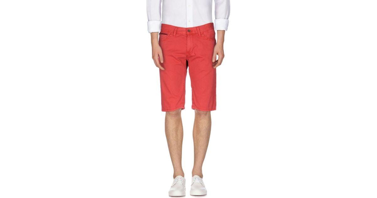 hilfiger denim bermuda shorts in red for men lyst. Black Bedroom Furniture Sets. Home Design Ideas