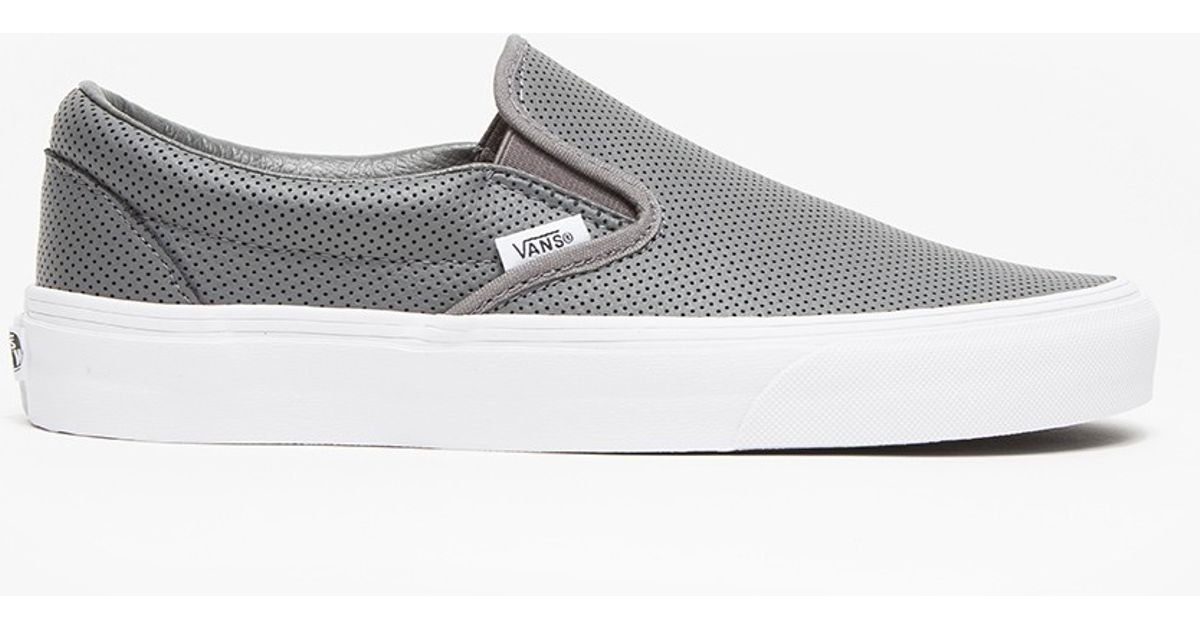 8792ba207726b2 Lyst - Vans Classic Slip-on Perf Leather in Gray