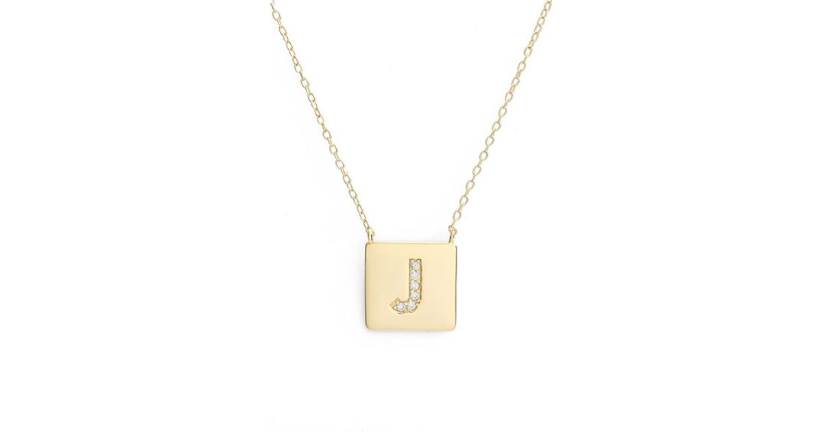 Lyst argento vivo cubic zirconia initial pendant necklace in metallic aloadofball Choice Image