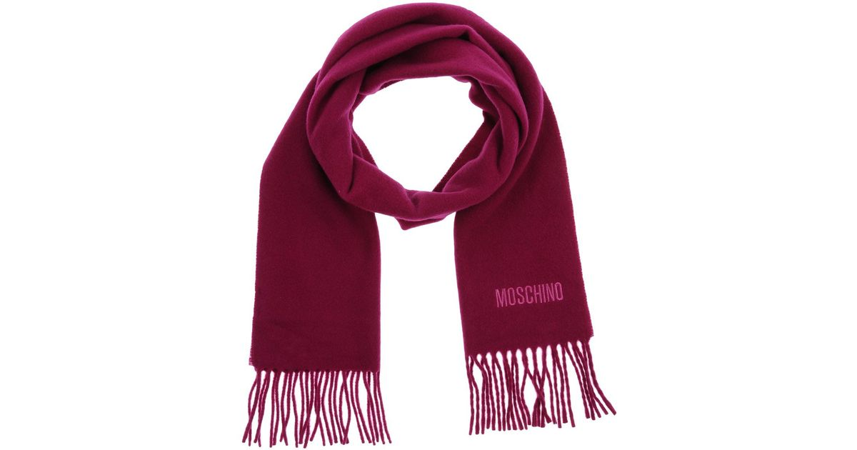 moschino oblong scarf in purple lyst