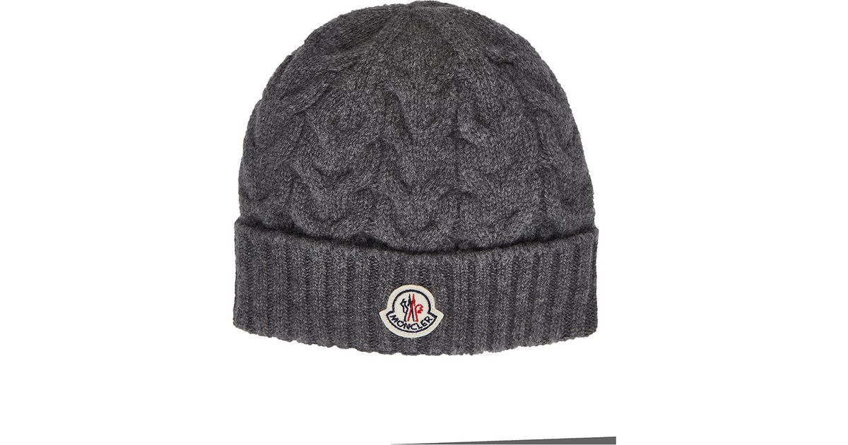 a7ad89bee53 Lyst - Moncler Cable-knit Beanie in Gray for Men