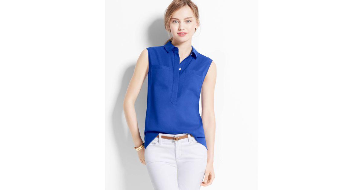 83a5235931ae65 Lyst - Ann Taylor Sleeveless Camp Shirt in Blue