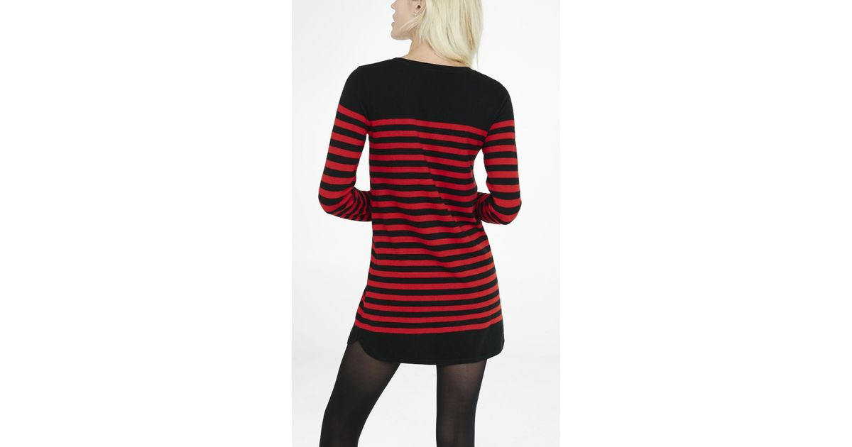 Lyst Express Black And Red Striped Sweater Dress In Black