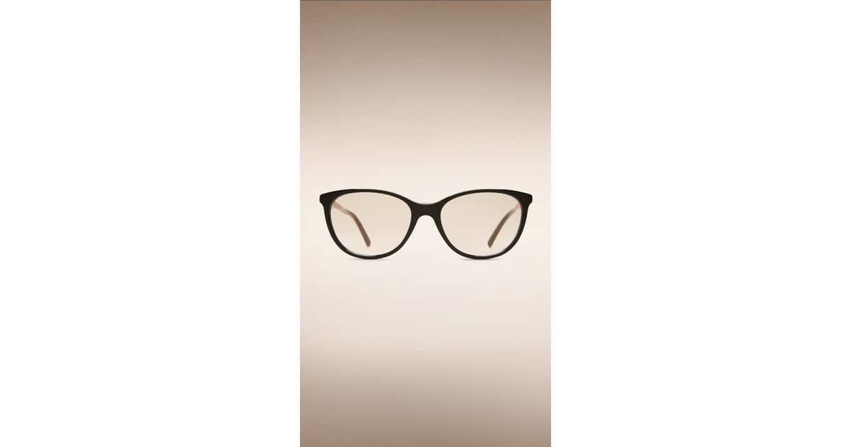 Lyst - Burberry Check Detail Cat-Eye Optical Frames in Black