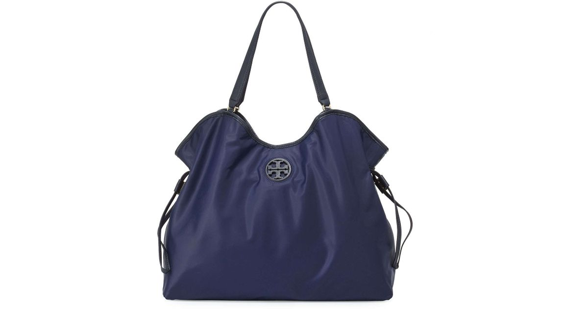 32267a544455 Lyst - Tory Burch Slouchy Nylon Tote in Blue