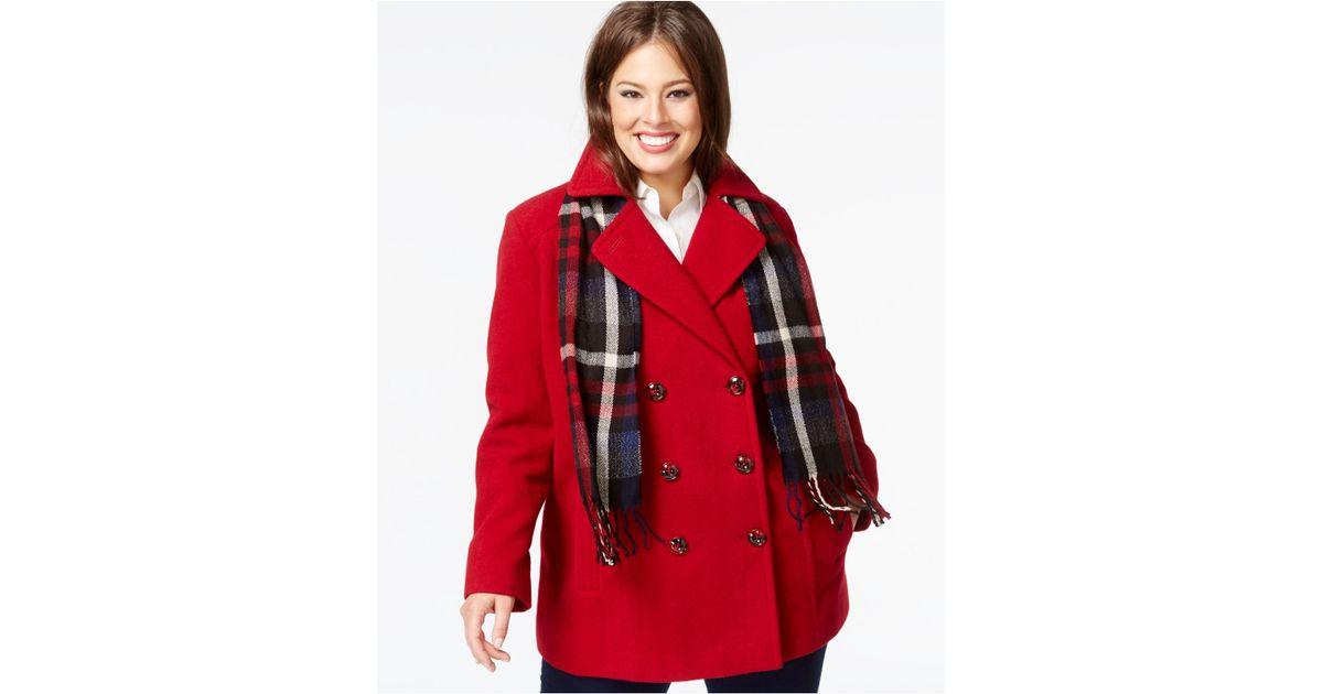 Plus size pea coat with fur collar