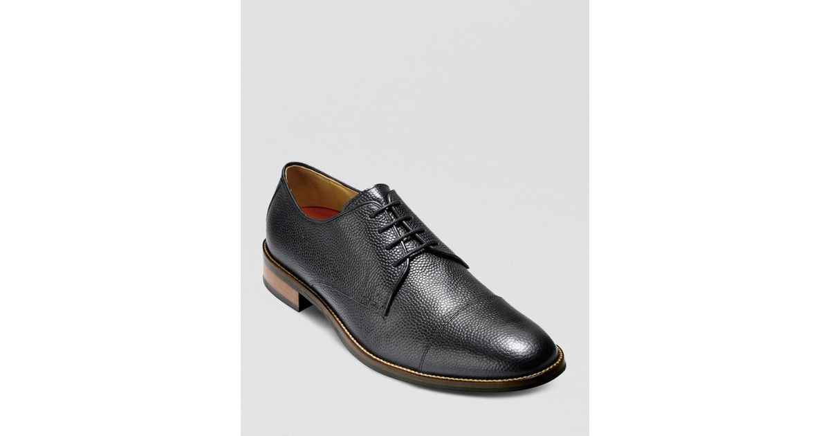 27bc1ab3463b4 Lyst - Cole Haan Lenox Hill Cap-Toe Pebbled Leather Oxfords in Black for Men