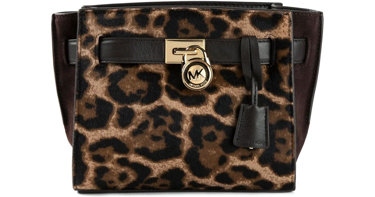 Lyst Michael Kors Hamilton Traveler Leopard Print Messenger Bag In Brown