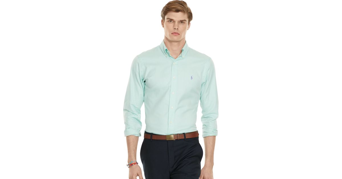 polo ralph lauren slim fit twill sport shirt in green for men. Black Bedroom Furniture Sets. Home Design Ideas
