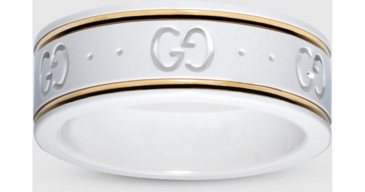 4bd06544588 Gucci Icon Ring In Yellow Gold And White Zirconia Powder in Yellow - Lyst
