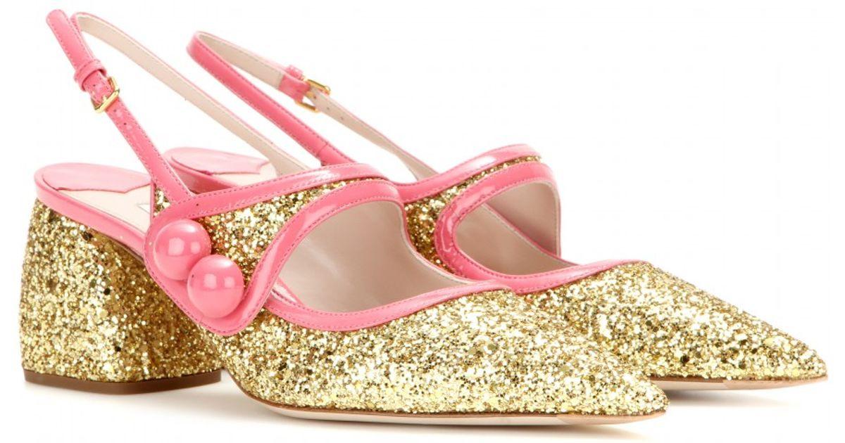 Embellished Sandals Miu Metallic Glitter dCoBex