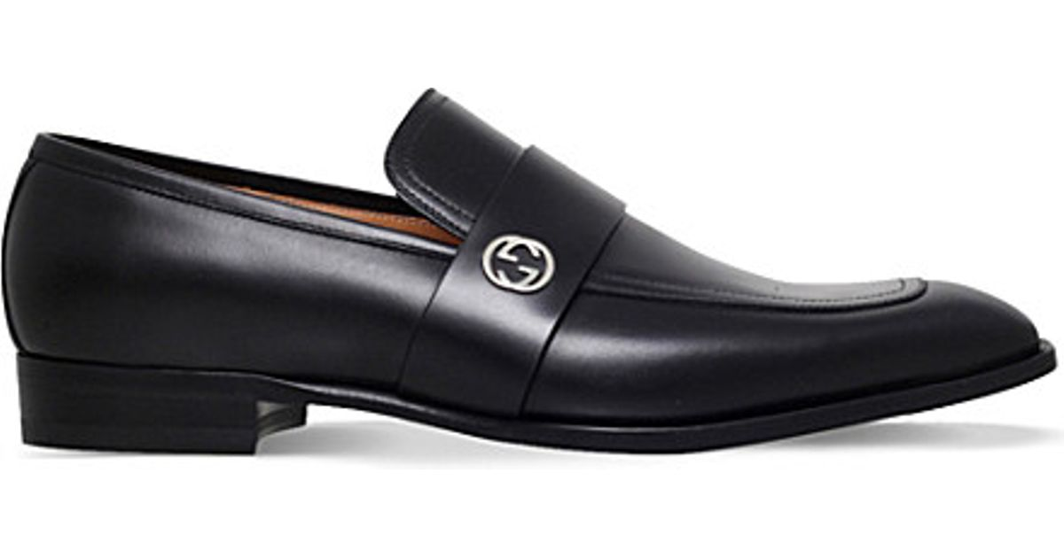 d5cae4bf579 Lyst - Gucci Broadwick Leather Loafers in Black for Men
