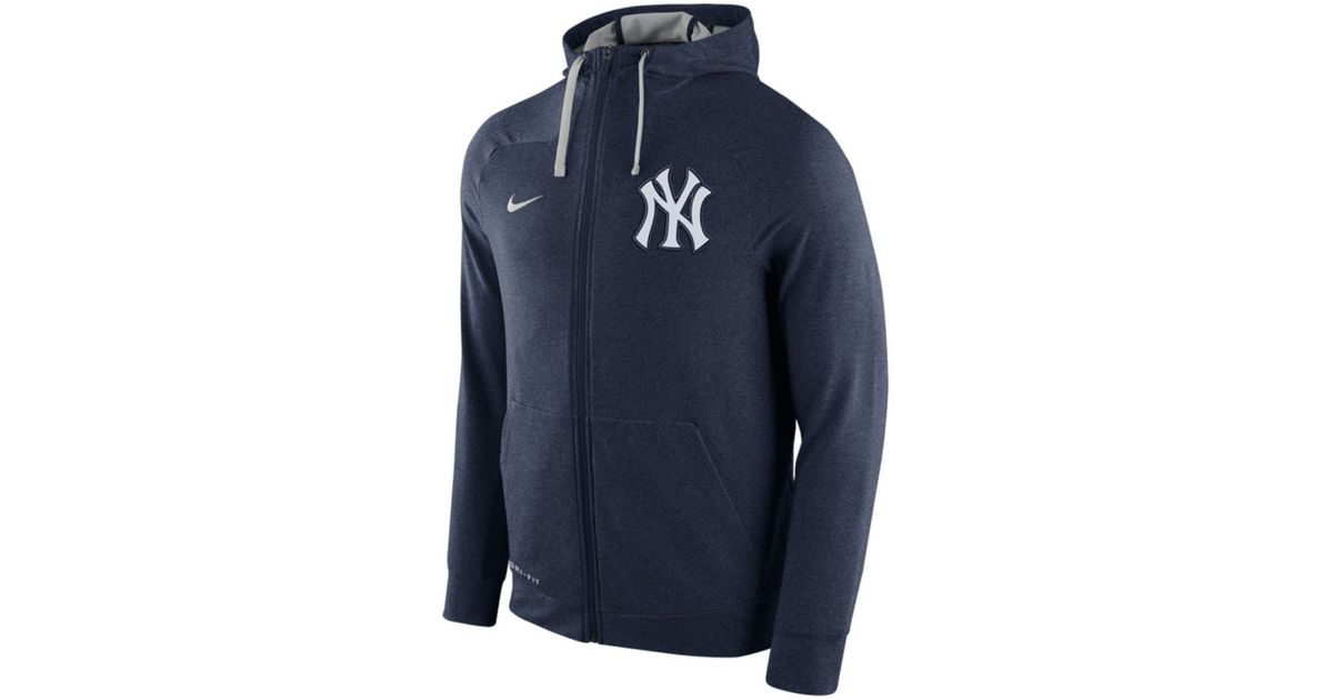 brand new 1b42a 212bd Nike Blue Men's New York Yankees Dri-fit Touch Full-zip Hoodie for men