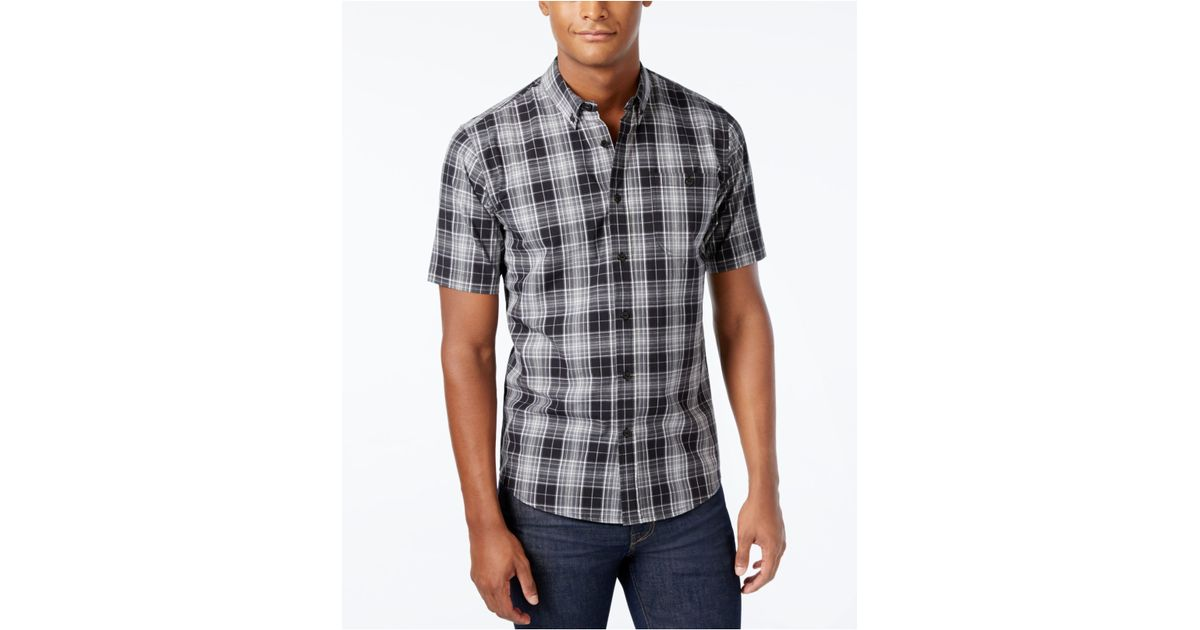 Ezekiel men 39 s chevelle plaid short sleeve button shirt in for Mens black plaid dress shirt