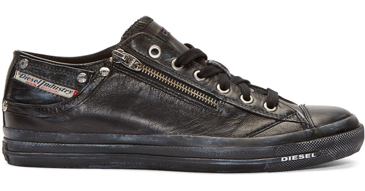 DIESEL Leather Black Low-top Expo-zip
