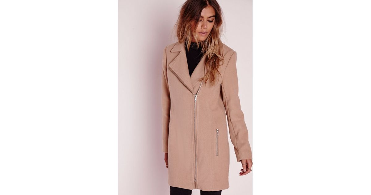 Missguided Petite Faux Wool Biker Coat Camel in Natural | Lyst
