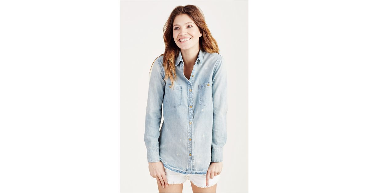 True Religion Utility Denim Womens Shirt In Blue Indigo