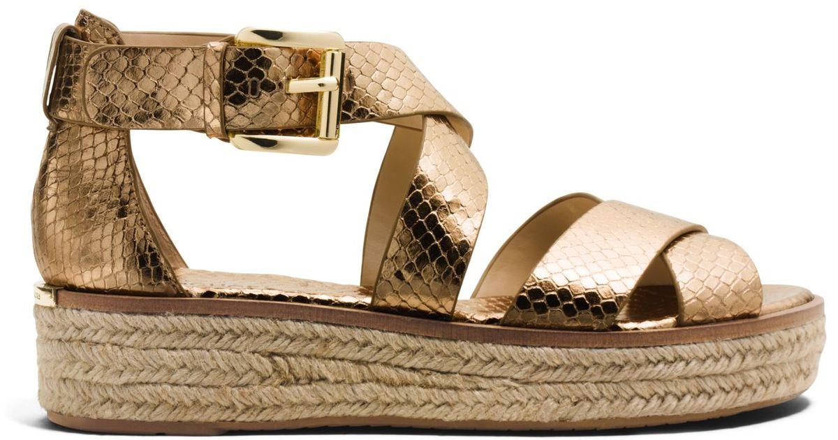 b39659c89385 Lyst - Michael Kors Darby Embossed-leather Platform Sandal in Metallic