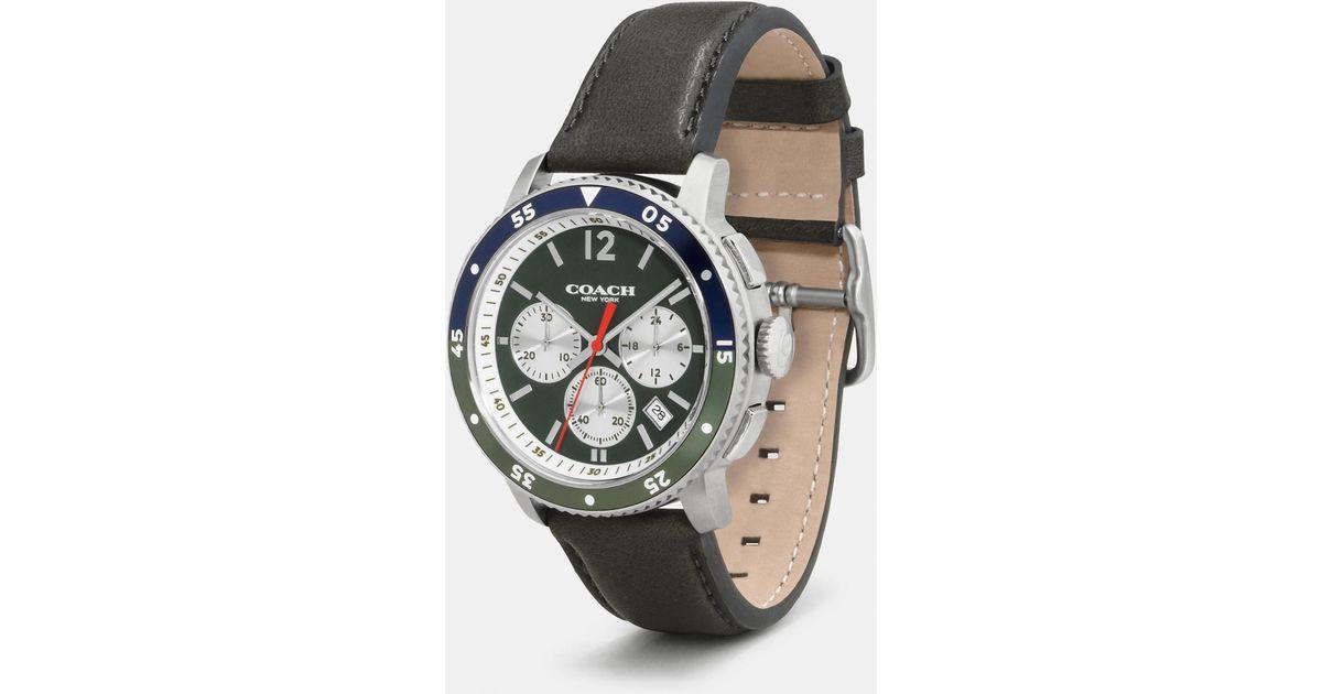 dd757d605f COACH Green Bleecker Sport Stainless Steel Chrono Strap Watch for men