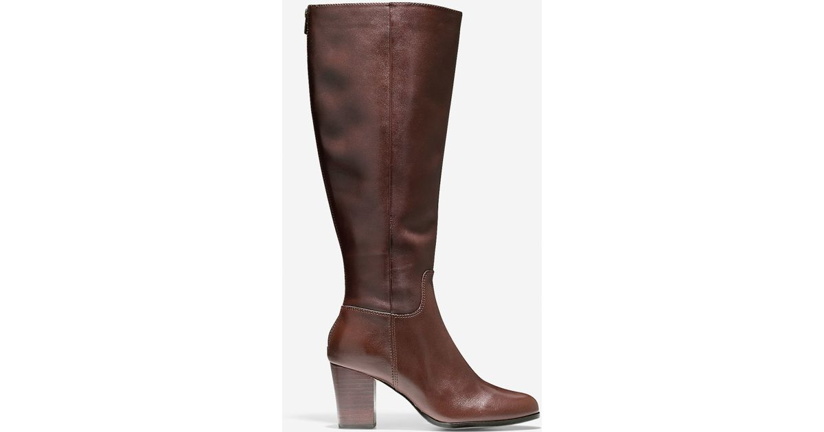 cole haan placid boot 70mm extended calf in brown lyst
