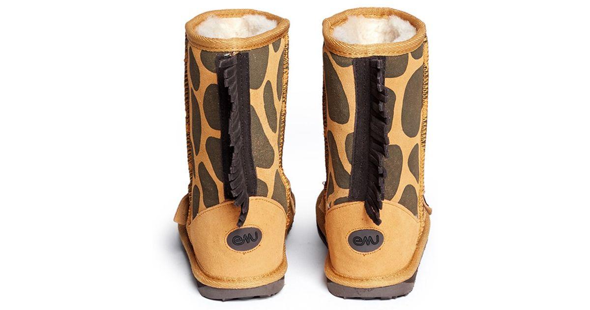 624d9809dbe EMU Multicolor 'Little Creatures Giraffe' Kids Boots