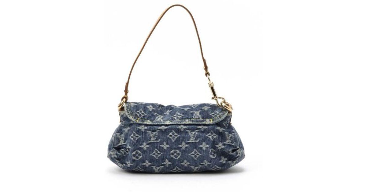 Lyst Louis Vuitton Preowned Blue Jean Monogram Denim Mini Pleaty Bag In