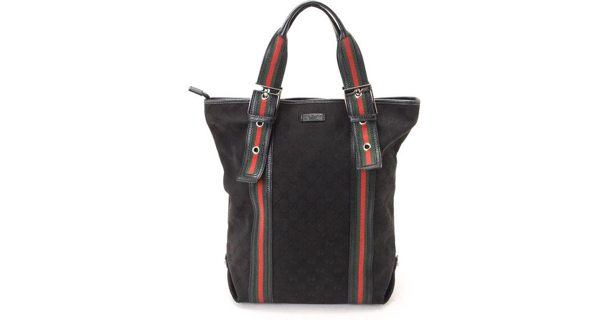 df51af0a66c3 Gucci Black Canvas Tote Bag in Black - Lyst