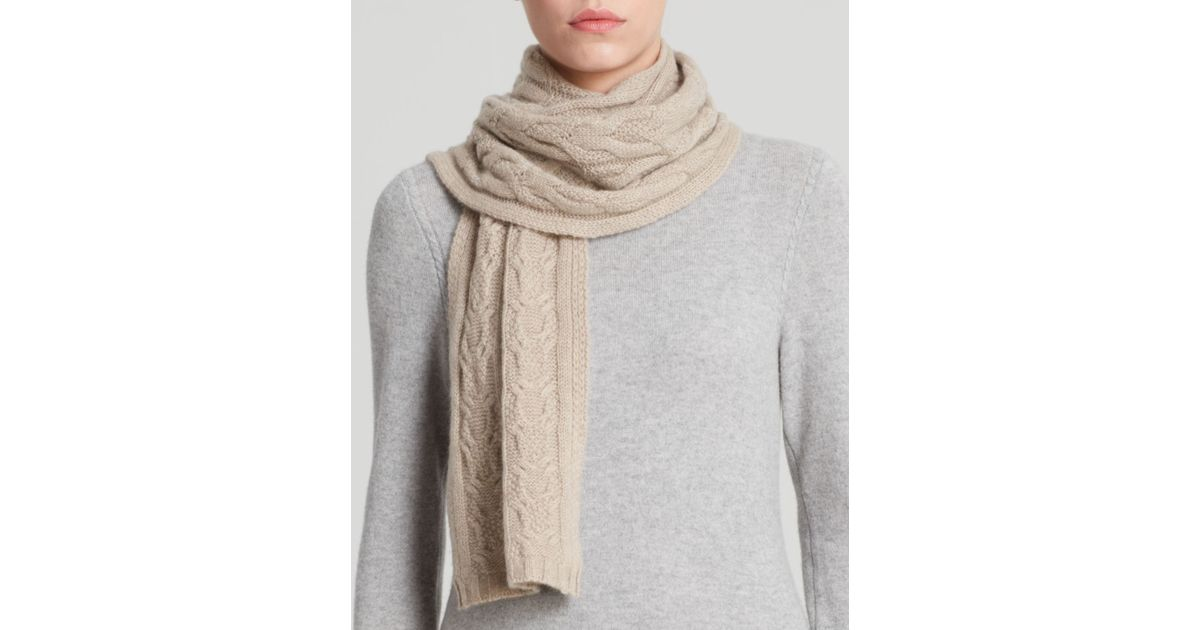 C by bloomingdales Cashmere Cable Knit Scarf in Beige (Oatmeal) Lyst