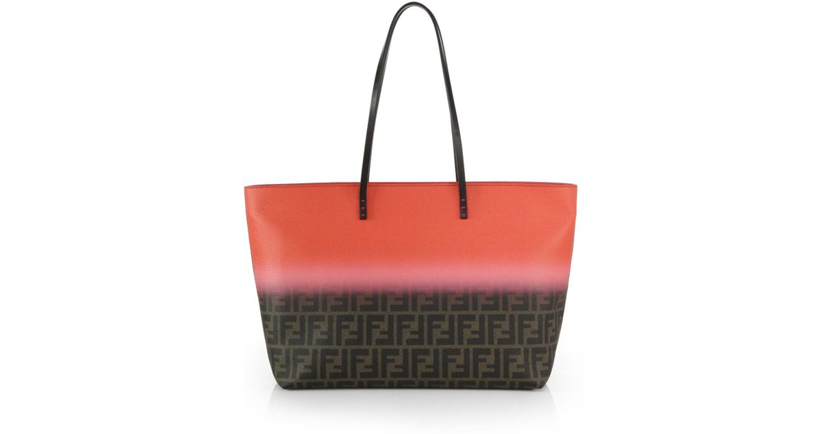 86af8d2d9f0b ... germany lyst fendi zucca ombr large roll tote in red a46d7 fc326 ...