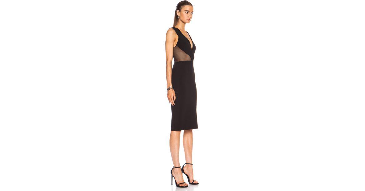 Lyst Cushnie Et Ochs Power Viscose Blend Dress With Mesh Cutouts