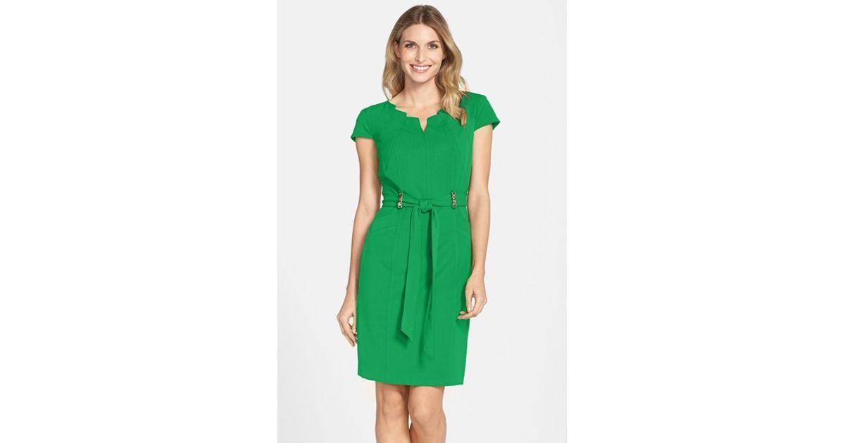 Ellen Tracy Green Stretch Sheath Dress