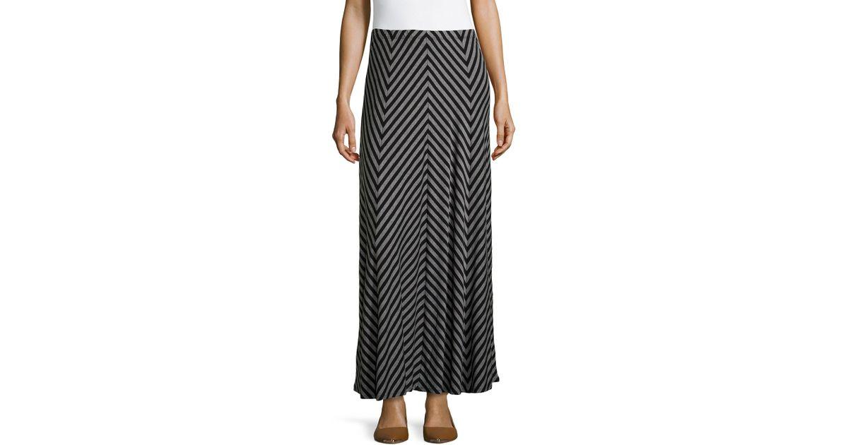 neiman chevron maxi skirt in black lyst