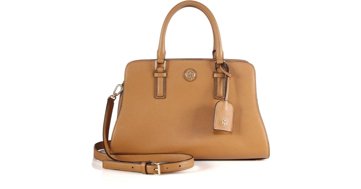 0fff7c5bf0c Lyst - Tory Burch Robinson Curved Saffiano Leather Satchel in Brown