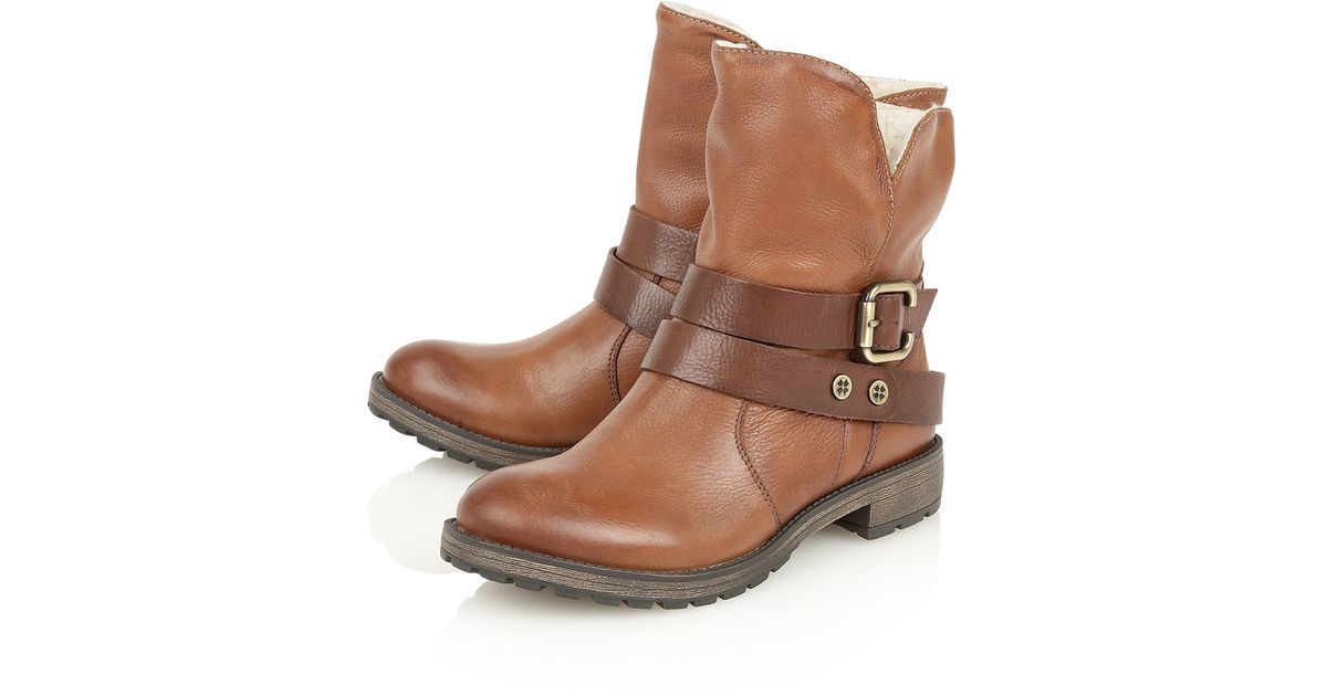 naturalizer talley ankle boots in brown lyst