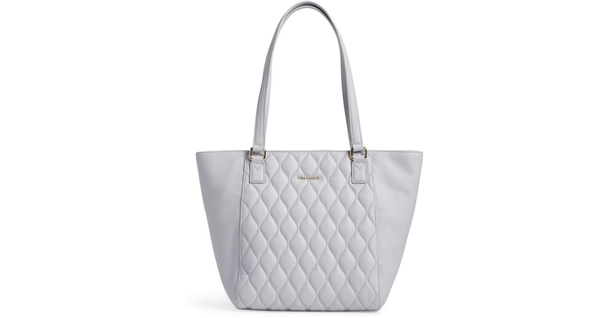 Vera Bradley Ella Small Quilted Leather Tote In Gray Lyst