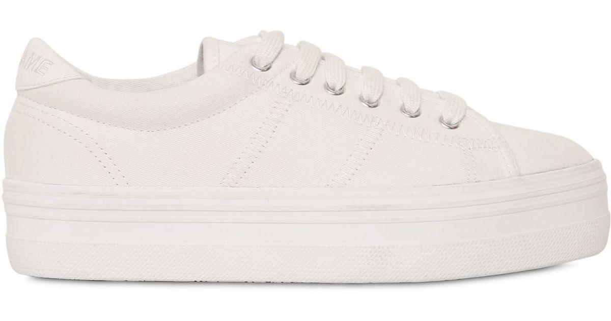 white canvas platform shoes