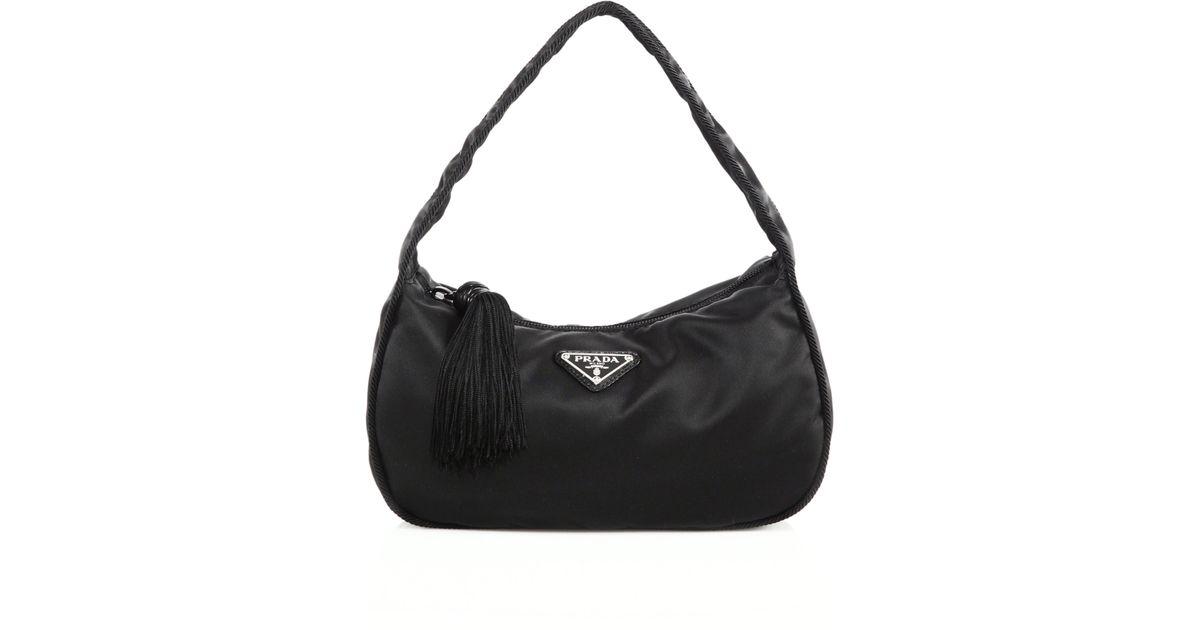 b7e961b12b0bfc Prada Nylon Crescent Shoulder Bag in Black - Lyst