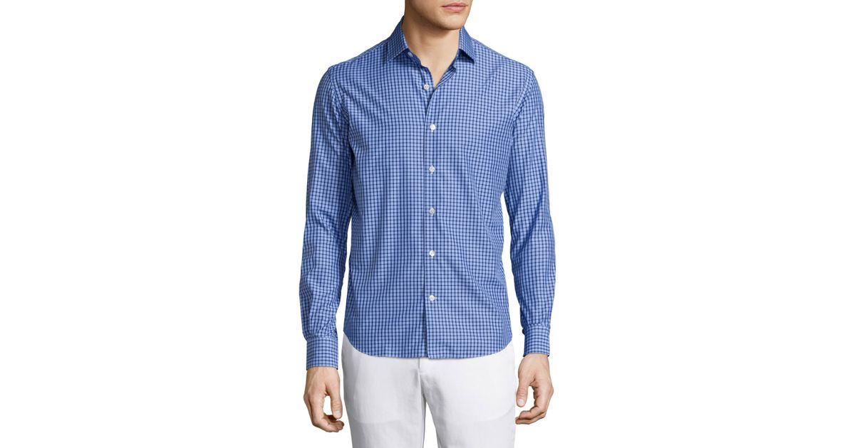Culturata plaid long sleeve sport shirt in blue for men for Navy blue plaid shirt