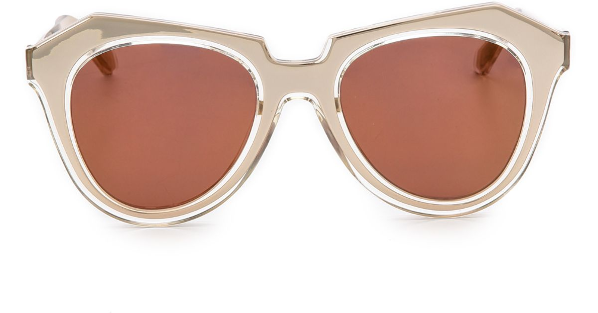 2e50ae76fc0 Karen Walker Number One Mirrored Sunglasses - Gold/Gold Flash Mirror in  Metallic - Lyst
