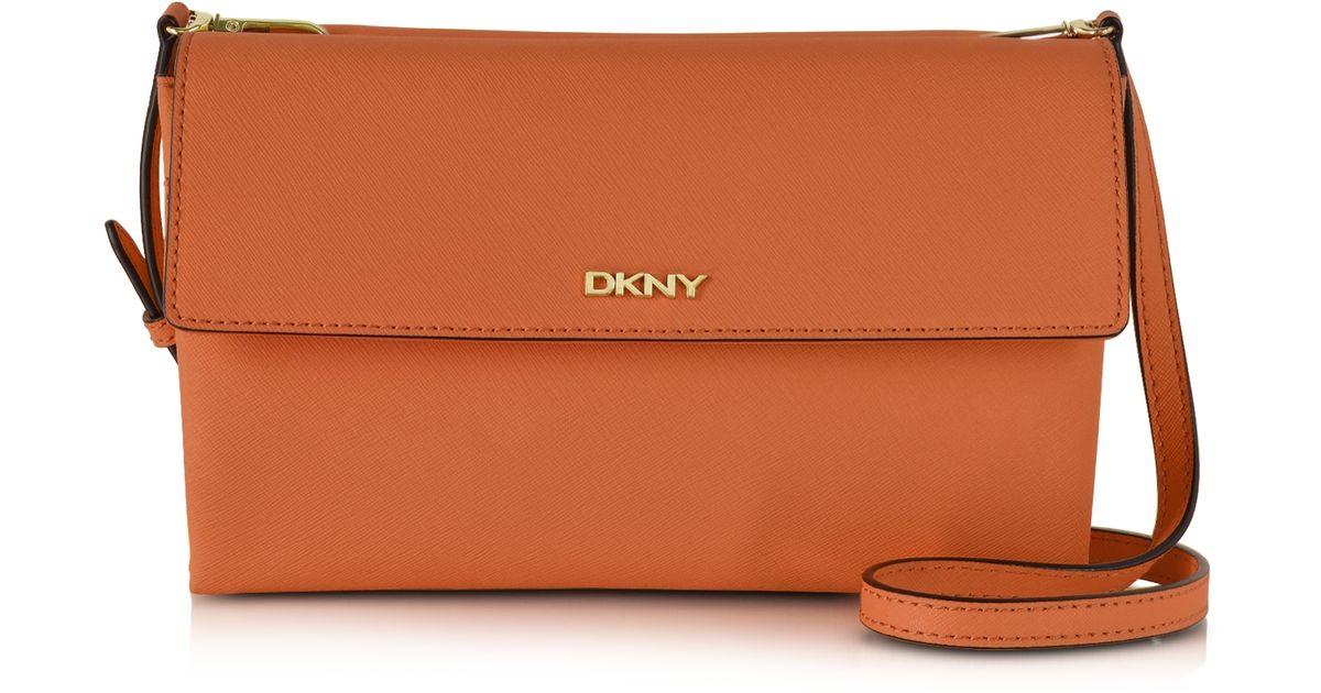 f0ce26f9dea DKNY Bryant Park Saffiano Leather Double Flap Shoulder Bag in Orange - Lyst