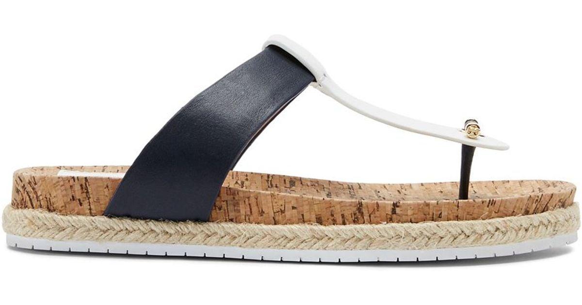 0c9b1e01bd121 Lyst - Tory Burch Cork-Footbed Flat Thong Sandal in Blue