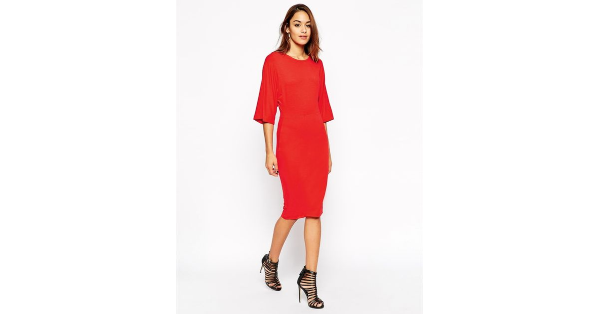 Asos Bodycon Dress With Kimono Sleeve in Red | Lyst